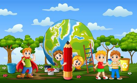 The earth with the children playing around it  イラスト・ベクター素材