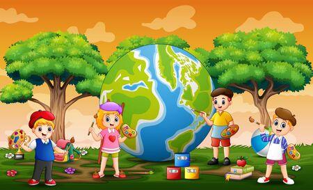 Happy children painting the globe illustration