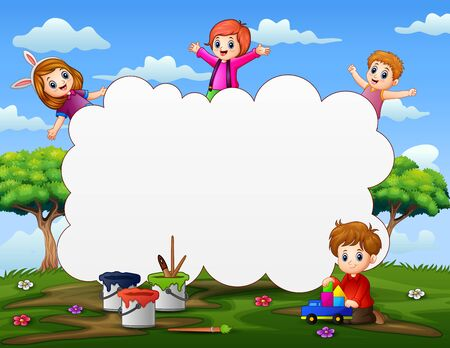 Frame template with happy kids playing on nature