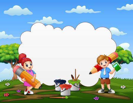 Speech bubble text with children holding a pencil Ilustración de vector