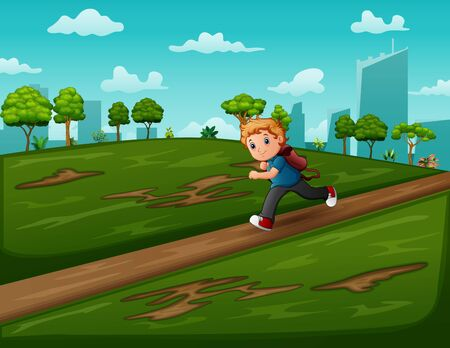 Cartoon a boy running on the road