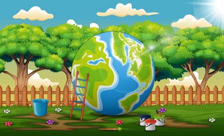 Nature scene with a painted globe  イラスト・ベクター素材