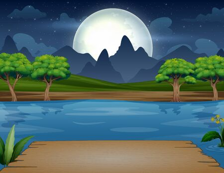 Night scene with wooden bench on the river
