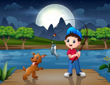 Happy boy fishing on the wooden pier Vector Illustratie