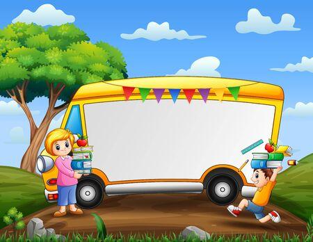 Border template with boy and a teacher