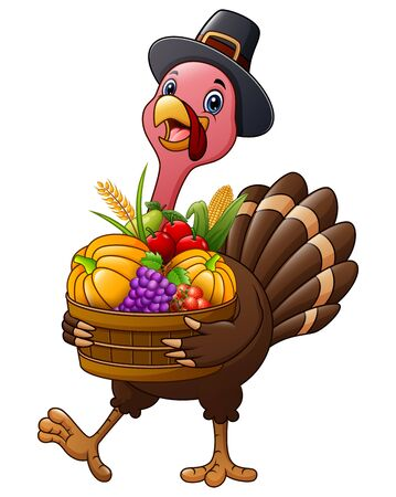 Thanksgiving day a turkey holding basket full of fruits and vegetables