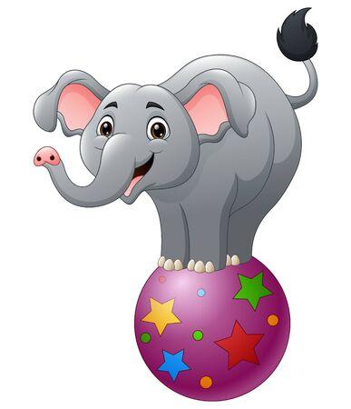 Cartoon circus elephant balancing on ball