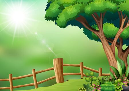 Fenced yard scene with tree Иллюстрация