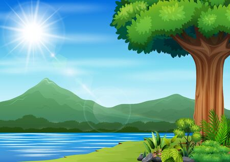 Nature landscape with a river and mountain background