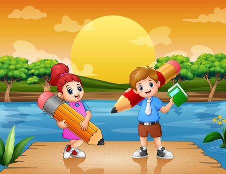 Happy kids holding big pencils on the pier Ilustracja