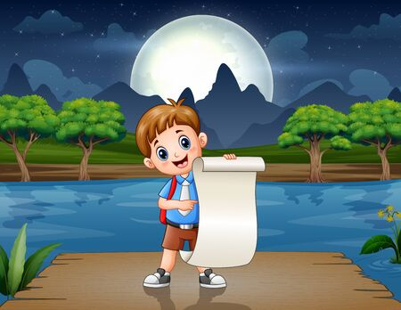 Schoolboy holding a paper on the pier Vector Illustratie