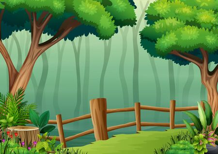 The wooden fence on the middle of dark forest Иллюстрация