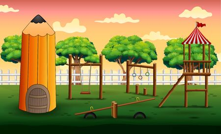 Background of pencil house with playground Illustration