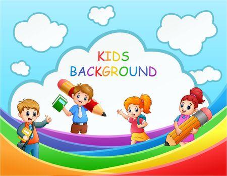 Four the school kids over the rainbow illustration