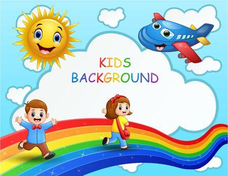 Happy children on colorful rainbow illustration Ilustracja