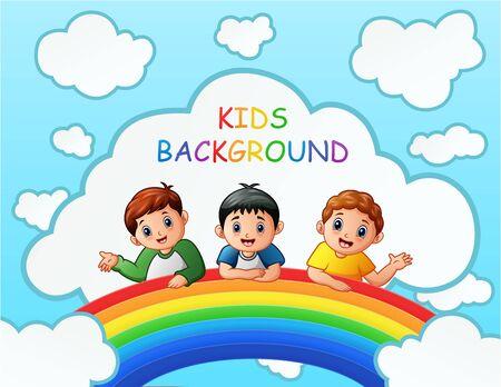 Three boys over the rainbow illustration Ilustracja