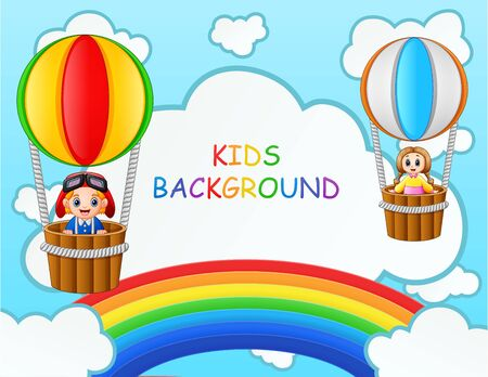 Children riding on a hot air balloon near the rainbow Ilustracja