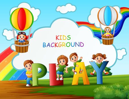 Happy kids playing in the park background Ilustracja