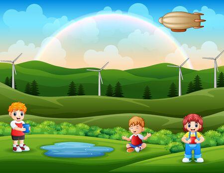 Cartoon happy kids enjoying nature Vektoros illusztráció
