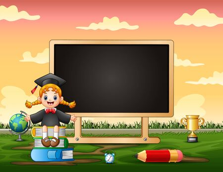 Border template with happy girl and blackboard