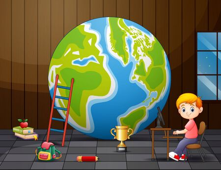 A big globe with boy in the room
