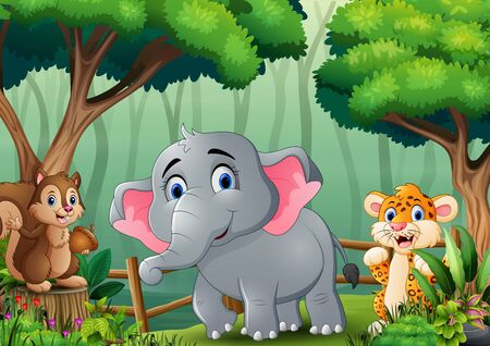 Scene with many animals in the forest Ilustración de vector