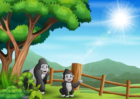 Scene with two gorilla in the zoo illustration