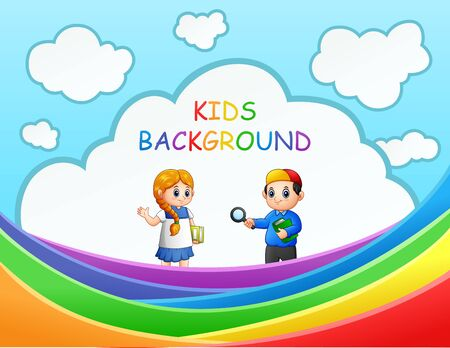 Happy children on colorful rainbow illustration 向量圖像