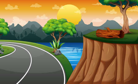 Background scene with road and cliff on the landscape