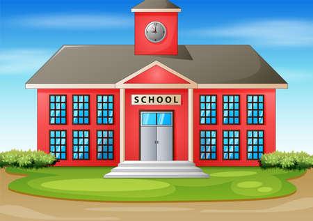 Cartoon illustration of school building
