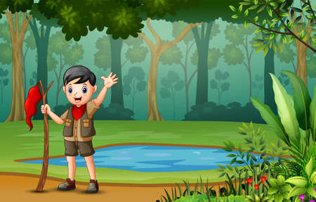 Scout boy hiking in the wood 向量圖像