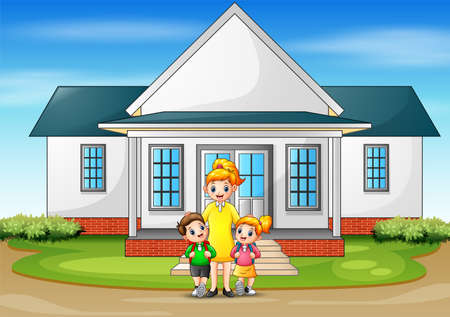 Children going to school from home Ilustracja