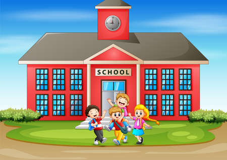 Many kids having fun in front the school