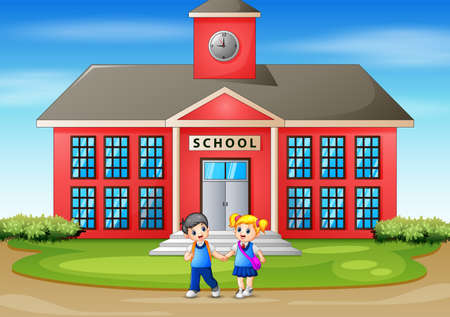 Happy kids going home after school Ilustracja
