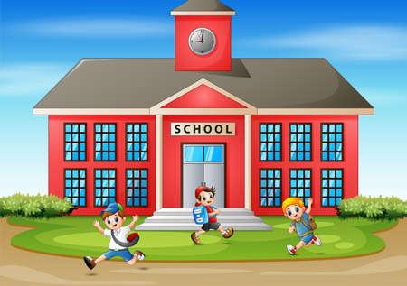 Happy student going to school Ilustracja