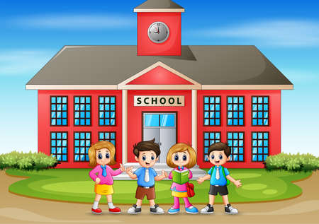 Illustration of back to school children