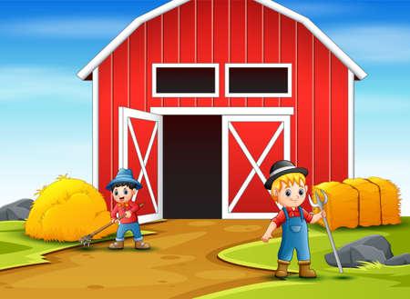 Happy farmer working in the farmyard