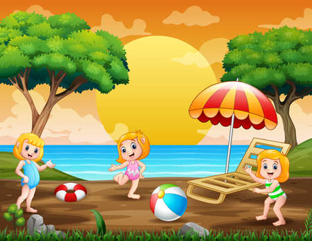 Summer holiday with kids playing at seaside
