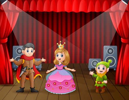 A prince and princess doing drama show on stage Ilustración de vector