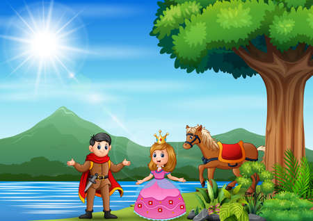 illustration of a prince and princess by the river