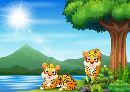Scene with two tigers by the river
