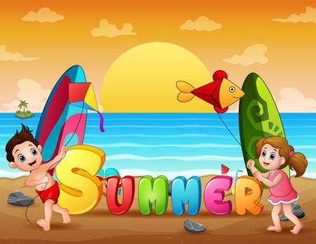 Happy kids playing kite at summer beach Ilustración de vector