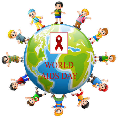 World Aids Day concept with happy kids around a globe Ilustración de vector