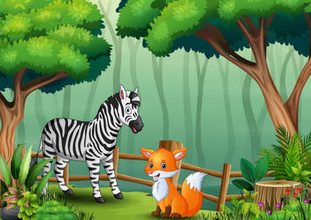 A zebra and fox inside the fence at forest