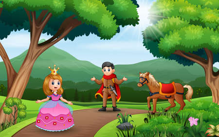 Cartoon a couple prince and princess playing in the nature landscape