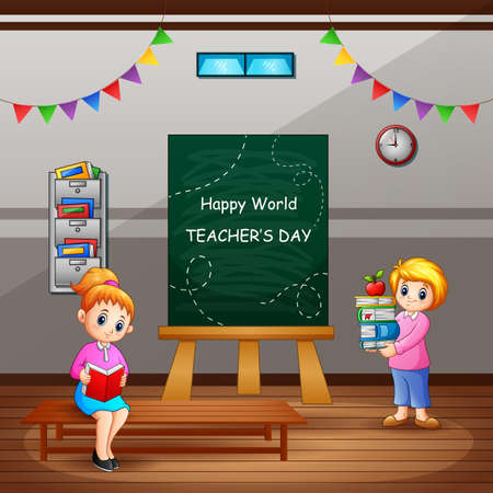Happy Teacher's Day text on chalkboard with woman teachers in the classroom Vecteurs