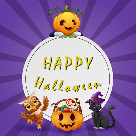 Illustration of Happy Halloween Text background