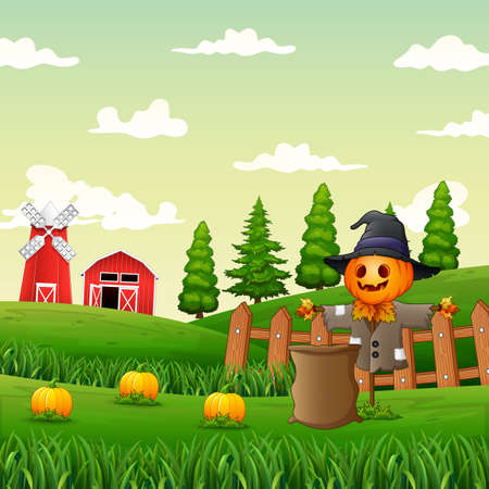 Illustration of a scarecrow in the pumpkin garden