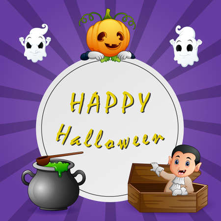 Happy Halloween Text background with vampire and pumpkin mask