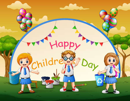 Happy children's day poster with students in the park Vettoriali